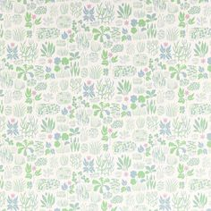 """Wallpaper Josef Frank- """"Söndagsmorgan""""- fairytale-like collection of leaves, flowers and grasses."""