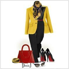 CHATA'S DAILY TIP: Warm yellow works for most skin tones, from Soft to Rich, and beautifully brightens a black outfit. Break the stark contrast by introducing elegant accessories in a third colour, like a touch of sunset orange or red. Bring the look together with a printed scarf that co-ordinates all three colours. COPY CREDIT: Chata Romano Image Consultant, Marlise du Plessis http://www.chataromano.com/consultant/marlise-duplessis/ IMAGE CREDIT: Pinterest
