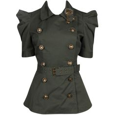 Double Breasted Squadron Jacket (125 BRL) ❤ liked on Polyvore featuring outerwear, jackets, tops, shirts, women, collar jacket, woven jacket, short-sleeve jackets and double breasted jacket