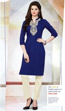 Navy Blue Color Cotton Trendy Daily Wear Readymade Kurti | FH454071124