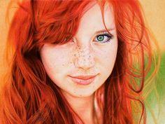 Redhead Girl - Ballpoint Pen on paper  Not a photograph  by Samuel Silva