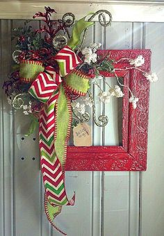 Vintage Red Christmas Frame for Door or Wall Hanging with Chevron And Burlap Ribbon on Etsy, $65.00