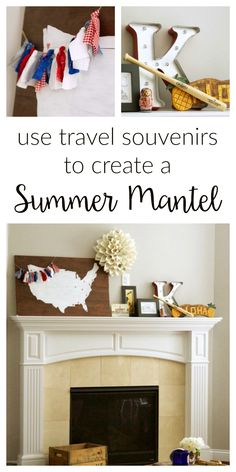 Use your summer vacation as inspiration for decorating your summer mantel! Gather souvenirs and travel mementos to create unique mantel decor. Summer Decor, Home Decor Inspiration, Home Projects, Summer Home Decor, Home Decor, Creative Home, Diy Furniture Building, Decor Inspiration Diy, Decorating Your Home