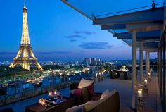 Shangri-La Hotel, Paris. Gorgeous views of the Eiffel Tower and two Michelin starred restaurants (one with two stars)