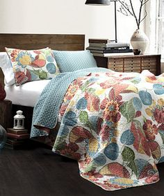 Take a look at this Orange & Blue Reversible Poppy Cotton Quilt Set today!
