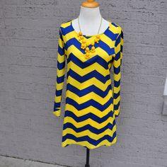 WVU clothes!! Olive- Online Women's Boutique / Honey Bee Chevron Dress