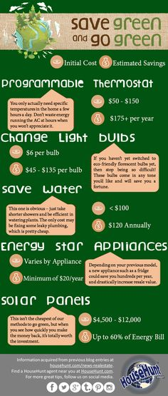 Cost Effective Ways to Go Green in Your Home #Infographic http://www.househunt.com/news-realestate/cost-effective-ways-go-green-home-infographic/
