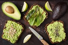 Avocado toasts for vegan breakfast or snack. Top view by Vladislav Nosick - Photo 239075249 / Breakfast Snacks, Lunch Snacks, Vegan Breakfast, Yummy Snacks, Avocado Toast, Low Fat Cheese, Healthy Dips, Healthy Meals, Healthy Recipes