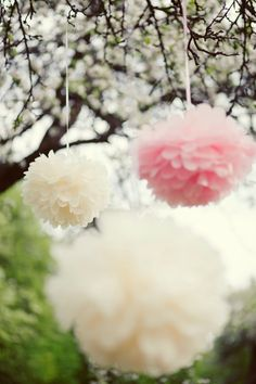 45 mixed sideTissue paper POMPOMS - wedding decorations -  your colors. $65.00, via Etsy.