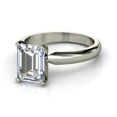 Emerald-Cut Diamond Platinum Ring