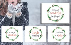 Christmas Wreath Greeting Card Quotes with Envelopes | Christmas | Holiday | Set of Cards | Mix and Match & Cardstocks Available by DesignsByZal on Etsy
