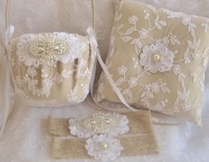 Sale!!!! Wedding Garter Lace Flower Girl Basket and Pillow  by nanarosedesigns, $75.00