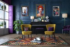 Yellow and Purple Living Room Decor – Nice Home Designs Room Colors, House Colors, Interiores Art Deco, Interiores Design, Home Interior Design, Interior Decorating, Estilo Cool, Estilo Interior, Eclectic Decor