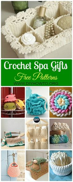 Collection of Crochet Spa Gift Ideas [Free Patterns]: Crochet spa set: washcloth, facial scrubby, foamie, towel, basket, rugs, soap saver and more via @diyhowto