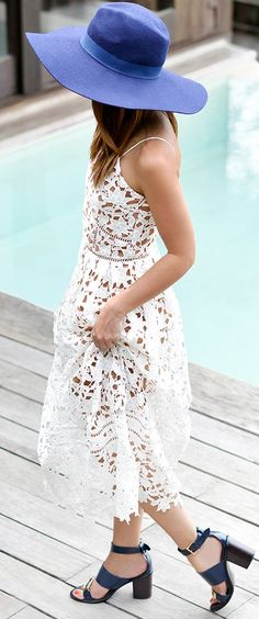 Romantic White And Blue Summer Outfit by Friend In Fashion