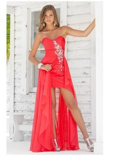 Affordable Sheath/Column Sweetheart Strapless Asymmetrical Chiffon Red Prom Dresses Evening Party Dress 99901062