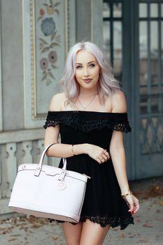 Blondie in the City | Black Off The Shoulder Dress @Official_SheIn | Pink Henri Bendel Bag | Pastel Hair