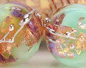 Handmade lampwork glass bead pair, made to order, round coin tablet, pink purple light turquoise copper gold silver, sra