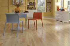 Maple can often be found in dance studios and basketball courts. If it can stand up to performances like these, just image how well it will perform in your home! Its warm color ranges from creamy pale white to a light reddish brown.