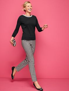 Talbots - Womans Buffalo Plaid Tailored Ankle Pants | Pants | Woman Petites