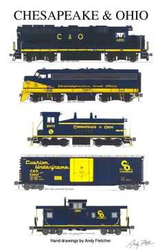 A C&O train with hand drawings by Andy Fletcher
