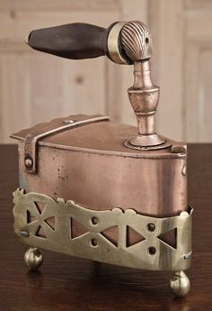 Antique Copper Clothes Iron with Brass Cradle | Miscellaneous Antique Accessories | Inessa Stewart's Antiques