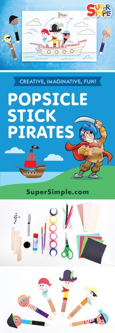 Let's sail the high seas on a pirate ship with popsicle stick pirates! Pirate Activities, Ocean Activities, Easy Arts And Crafts, Crafts For Kids, Simple Crafts, Popsicle Stick Crafts, Popsicle Sticks, Learning Resources, Kids Learning