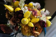 Yellow bouquet with tulips and billy balls