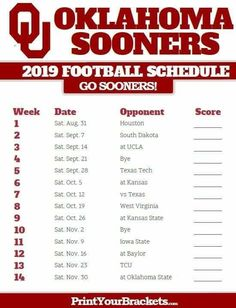 Ou Football Schedule 2020.14 Best Ncaa 2019 2020 Football Schedules Images In 2019