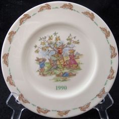These bunnies are having a wonderful day picking apples. | Royal Doulton Bunnykins Salad Plate 1990 US Special Events Tour