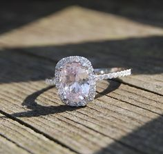1.47ct Cushion Light Peach Champagne Sapphire 14k white gold diamond Engagement Ring. $1,300.00, via Etsy. I | http://sapphirecollections.blogspot.com