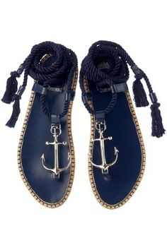 apparently these are Dior sandals.the only word I understood was Dior (and that translates to: out of my price range :( boooo) Anchor Sandals, Anchor Shoes, Navy Anchor, Nautical Anchor, Cute Shoes, Me Too Shoes, Marine Style, Fashion Shoes, High Fashion