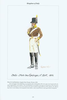 Kingdom of Italy: Plate 28: 2nd Battalion, Supply Train Troops, Private, 1812