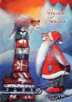 Raija Nokkala Illustration Noel, Winter Illustration, Illustrations, Christmas Greetings, Christmas Cards, Xmas, Christmas Ideas, Pastel Art, Funny Art