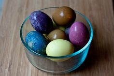 Dye Easter Eggs the Natural Way | Simple Bites        to create all-natural dyes:     Pink/red: 1 beet (peeled and diced) or 1 teaspoon paprika     Yellow: 1 teaspoon turmeric     Browns: Tea, coffee, or onion skins     Purple/blue: 1 cup Blueberries or blackberries (red cabbage can work also)     Green: Torn spinach, 1-2 bags green tea, or mix the blue and yellow dyes     …plus 1 tablespoon distilled white vinegar