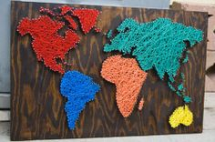 Really cool! DIY World Map Wall Art | Nail Wall Art World Map | DIY home art