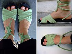 Repurposed flip flops and T-shirt into too cute summer sandals! Tutorial by annekata, via Flickr