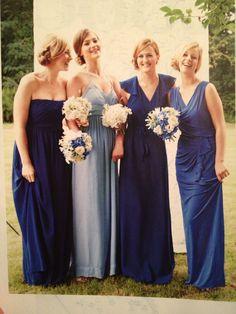 Blue jersey dress bridesmaids
