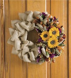 Sunflower Wreath with ruffled jute ribbon - great style and texture!