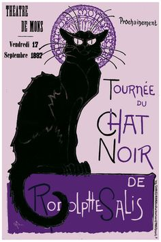 Purple Theater de Mons Tournée Du Chat Noir Poster French Decorative Art | eBay