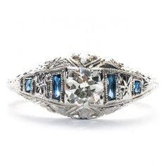 Vintage Art Deco Engagement Ring from Trumpet & Horn $2,650 circa 1920