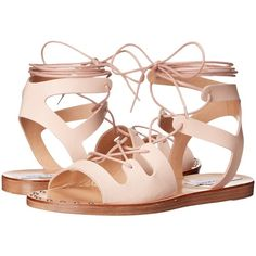 Steve Madden Rella (Blush Leather) Women's Sandals ($56) ❤ liked on Polyvore featuring shoes, sandals, pink, platform sandals, leather lace up sandals, studded sandals, steve-madden shoes and open toe sandals