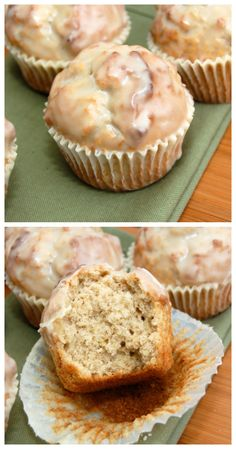 Glazed Doughnut Muffins~For the Muffins: 1/4 cup butter 1/4 cup vegetable oil 1/2 cup granulated sugar 1/3 cup brown sugar 2 large eggs 1 1/2 teaspoons baking powder 1/4 teaspoon baking soda 3/4 teaspoon ground nutmeg 1 teaspoon cinnamon 3/4 teaspoon salt 1 teaspoon vanilla extract 2 2/3 cups all-purpose flour 1 cup milk  For the Glaze: 3 tablespoons butter; melted 1 cup confectioners' sugar; sifted 3/4 teaspoon vanilla 2 tablespoons hot water