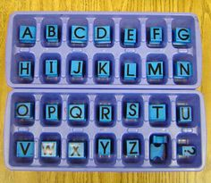 Use ice cube trays to organize and store your ABC stamps. Write the letter in the bottom of each space with a Sharpie. The students will then have to match the correct stamps to the correct space whenever they use the stamps, fun and educational at the same time!