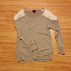 Gray lace sweater Worn twice. Tops Sweatshirts & Hoodies