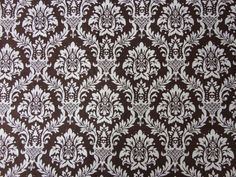 Fabric  White and Brown Damask  Cotton by AllThatFabric on Etsy, $3.85