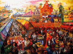 "RUSSIAN CIRCUS SIDESHOW Ari Roussimoff Painting Huge 36""x48"" Carnival Panorama #Impressionist"