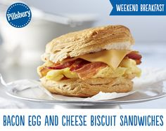 Start your day off right with this delicious breakfast sandwich! Bacon, Egg and Cheese Biscuit sandwiches are so easy and loaded high with HORMEL® Black Label Bacon®, egg and cheese on a Flaky Layer biscuit. Perfect for brunch or an on-the-go breakfast this sandwich is sure to delight!
