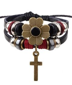 Chunky Black Gold and Ruby Red Cross Bracelet! #Love #Jesus #Floral #Cross #Faith #Bohemian #Style #Jewelry #Spiritual #Inspiration