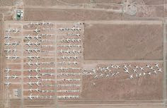 Southern California Logistics airport in Victorville, US contains an aircraft boneyard with more than 150 retired planes.  The dry conditions in Victorville – located on the edge of the Mojave desert – limits the corrosion of metal, meaning planes can be stored here for years while they are stripped for spare parts Photograph: DigitalGlobe/Penguin Random House